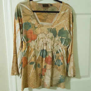 Avenue Floral Gathered Waist Top Floral